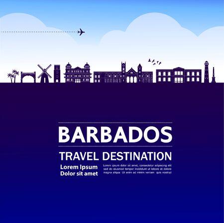 Barbados travel destination grand vector illustration.