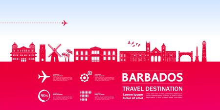 Illustration vectorielle grand de destination de voyage de la Barbade.