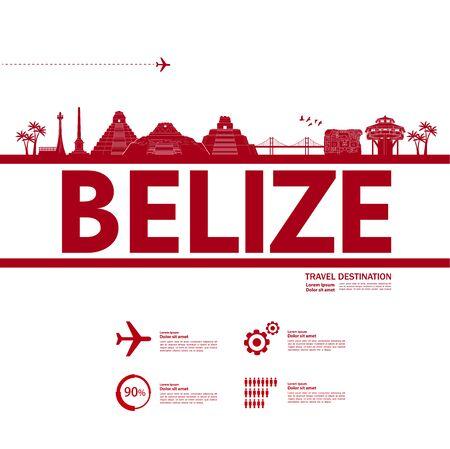 Belize travel destination grand vector illustration. Vetores