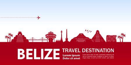 Belize travel destination grand vector illustration.