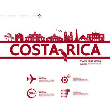 Costa Rica travel destination grand vector illustration. Ilustração