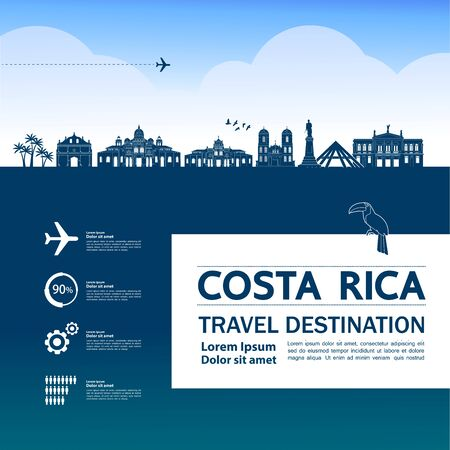 Costa Rica travel destination grand vector illustration. Ilustração