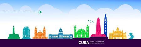Cuba travel destination grand vector illustration.