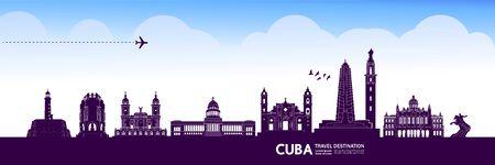 Cuba travel destination grand vector illustration. Vector Illustration