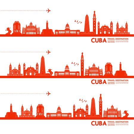 Cuba travel destination grand vector illustration.