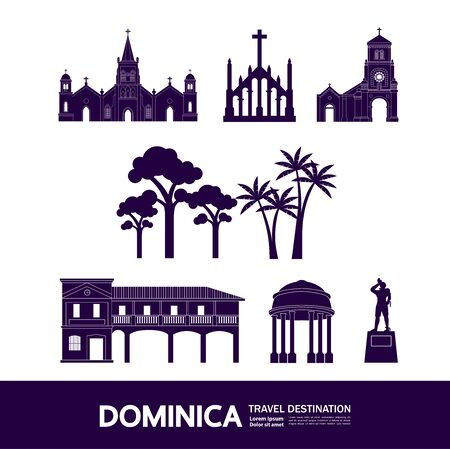 Dominica travel destination grand vector illustration.