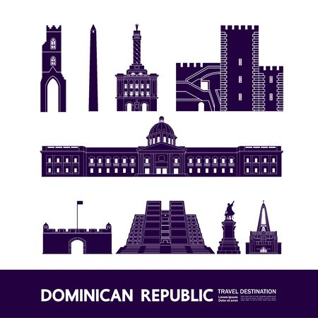 Dominican Republic  travel destination grand vector illustration.