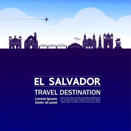 El Salvador travel destination grand vector illustration.