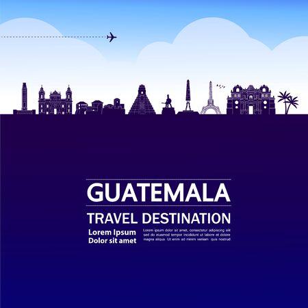 Guatemala travel destination grand vector illustration. Vetores