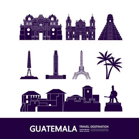 Guatemala travel destination grand vector illustration.