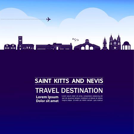 Saint Kitts and Nevis travel destination grand vector illustration.