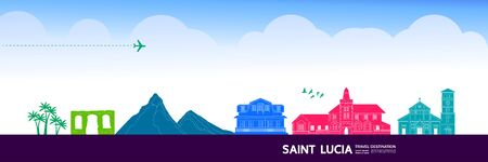 Saint Lucia travel destination grand vector illustration. Vectores