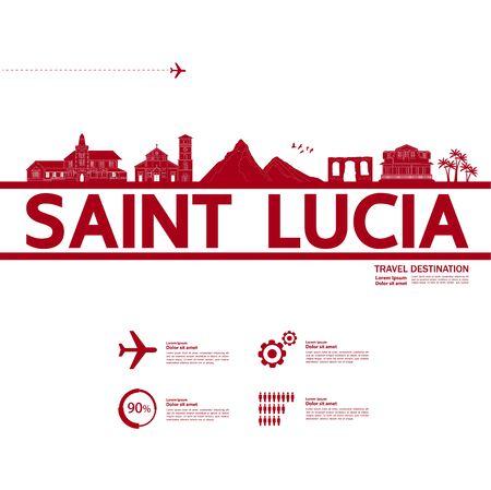 Saint Lucia travel destination grand vector illustration.