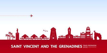 Saint Vincent and the Grenadines travel destination grand vector illustration.