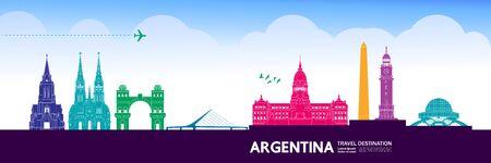 Argentina travel destination grand vector illustration.