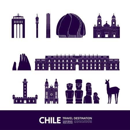 Chile travel destination grand vector illustration.