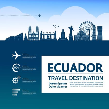 Ecuador travel destination grand vector illustration.
