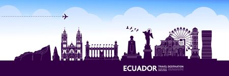 Ecuador travel destination grand vector illustration.