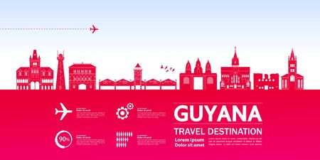 Guyana travel destination grand vector illustration. Фото со стока - 133208542