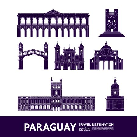 Paraguay travel destination grand vector illustration.