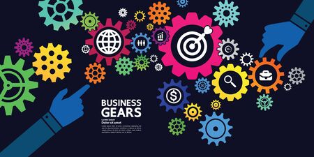 Gears creative idea set for business vector illustration. Фото со стока - 132923462