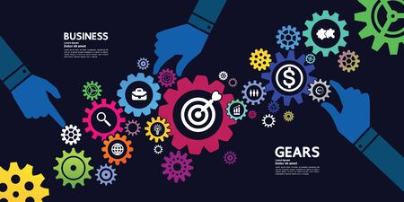 Gears creative idea set for business vector illustration. Фото со стока - 132923464