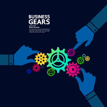 Gears creative idea set for business vector illustration. Ilustracja