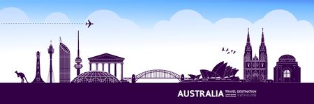 Australia travel destination grand vector illustration. Ilustracja