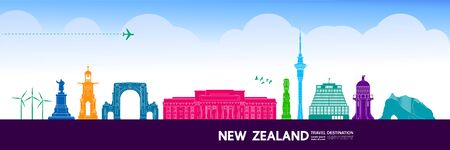 New Zealand travel destination grand vector illustration. Ilustracja