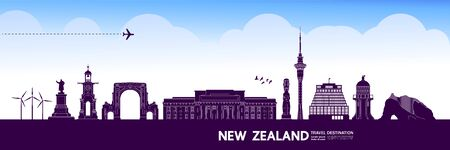New Zealand travel destination grand vector illustration.