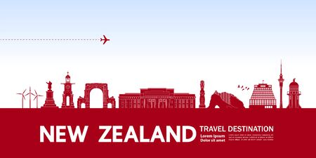 New Zealand travel destination grand vector illustration. Фото со стока - 133341354