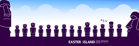 Easter Island travel destination grand vector illustration.