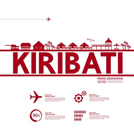Kiribati travel destination grand vector illustration. Фото со стока - 133617455