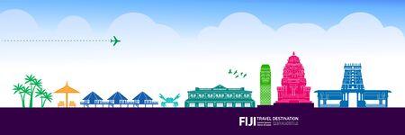 Fidżi podróży przeznaczenia grand ilustracji wektorowych.