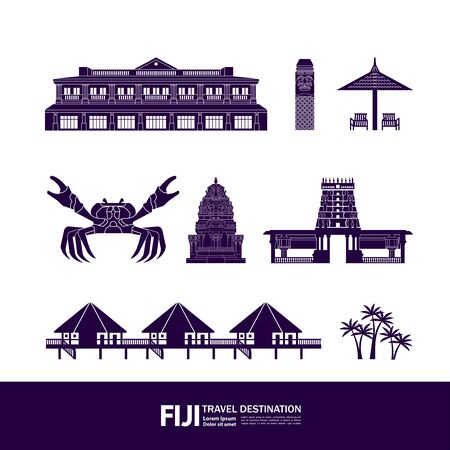 Fiji travel destination grand vector illustration.