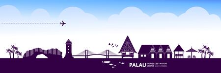 Palau travel destination grand vector illustration.