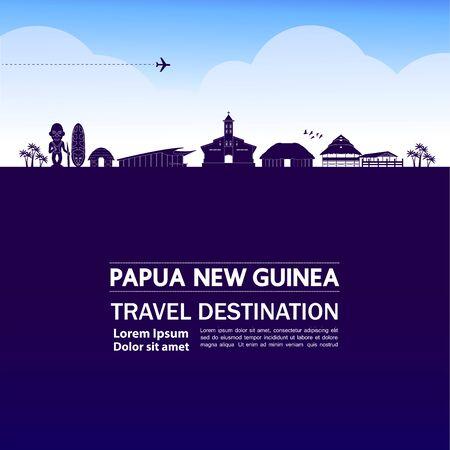 Papouasie-Nouvelle-Guinée destination de voyage grande illustration vectorielle. Vecteurs