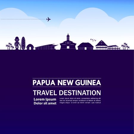 Papua New Guinea travel destination grand vector illustration.