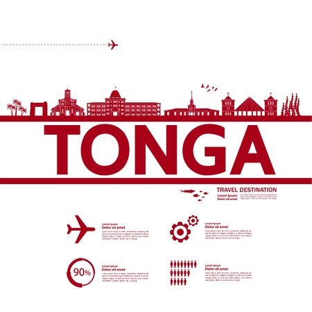 Tonga travel destination grand vector illustration.