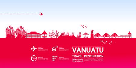 Vanuatu travel destination grand vector illustration.