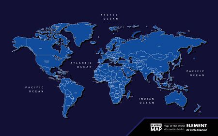 Grand world map graphic element vector illustration.