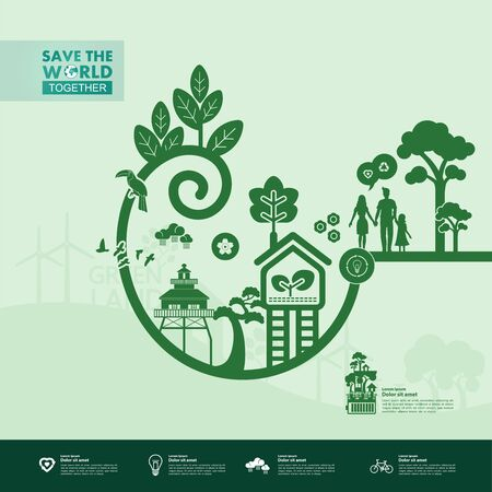 Save the world together green ecology vector illustration.