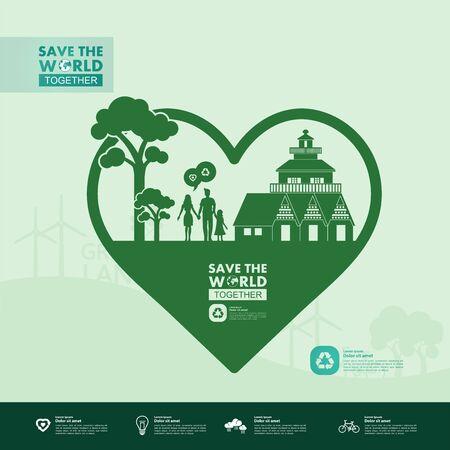 Speichern Sie die Welt zusammen grüne Ökologie-Vektor-Illustration. Vektorgrafik
