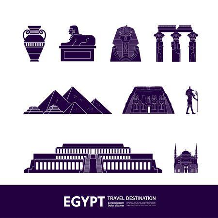 Egypt travel destination grand vector illustration.