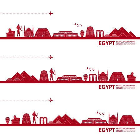 Egypt travel destination grand vector illustration. Vecteurs