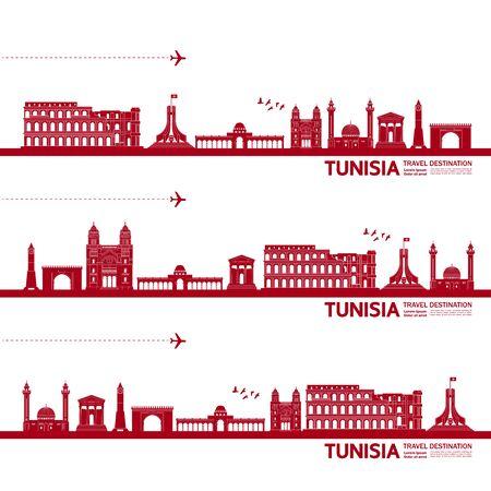 Tunisia travel destination grand vector illustration.