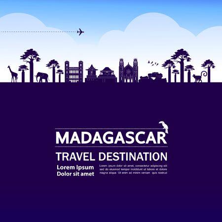 Madagascar travel destination grand vector illustration. 矢量图像