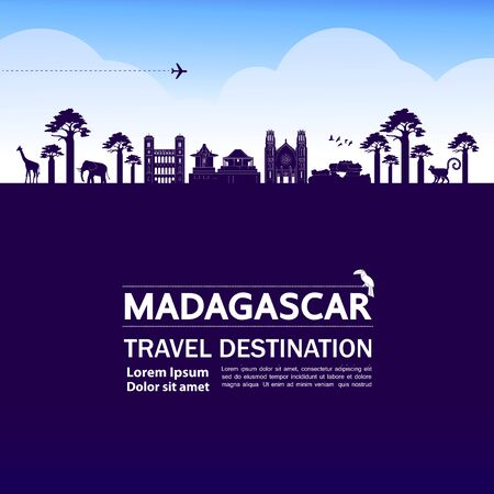 Madagascar travel destination grand vector illustration. Illustration