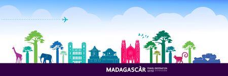 Madagascar travel destination grand vector illustration.  イラスト・ベクター素材
