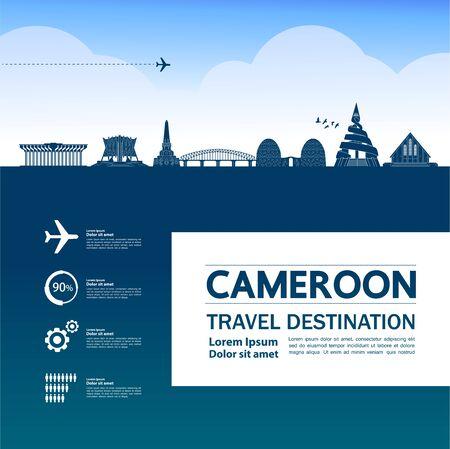 Cameroon travel destination grand vector illustration.